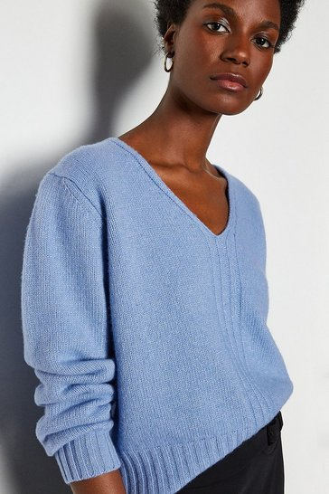 Dark blue V-Neck Cropped Cashmere Blend Jumper