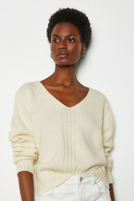 Natural V-Neck Cropped Cashmere Blend Jumper