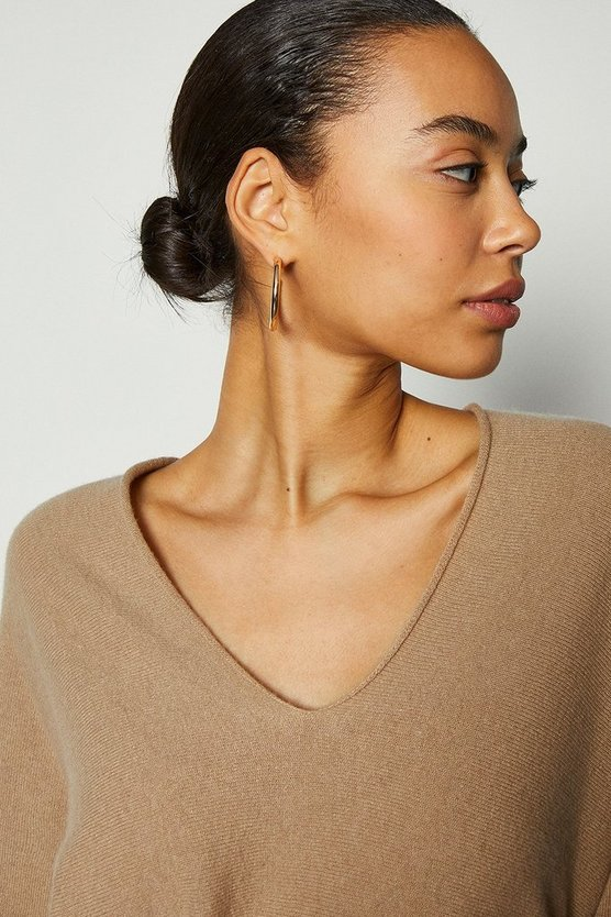Camel V-Neck Cashmere Mix Tunic Jumper