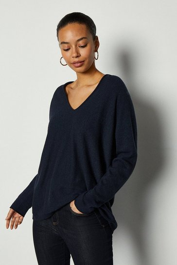 Navy V-Neck Cashmere Mix Tunic Jumper