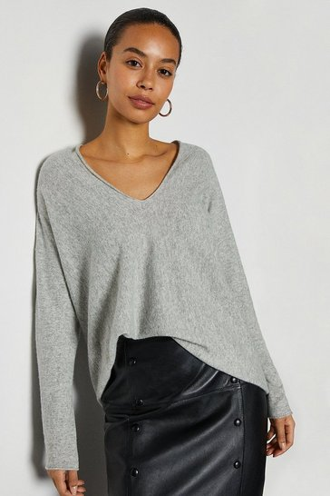 Pale grey V-Neck Cashmere Mix Tunic Jumper