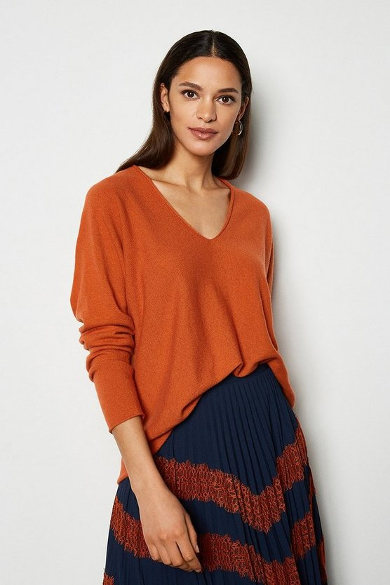 Rust V-Neck Cashmere Mix Tunic Jumper