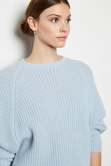 Blue Wool Blend Oversized Rib Jumper