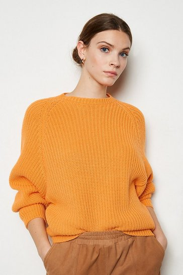 Orange Wool Blend Oversized Rib Jumper