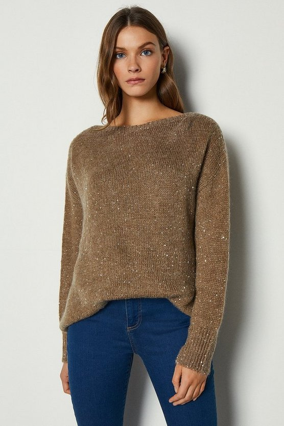 Camel Sequin Roundneck Jumper