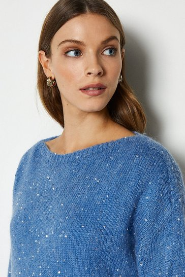 Dark blue Sequin Roundneck Jumper