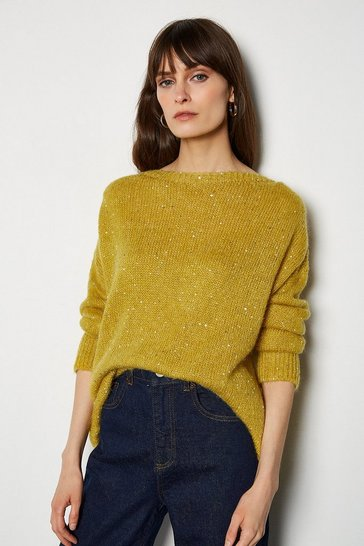 Mustard Sequin Roundneck Jumper