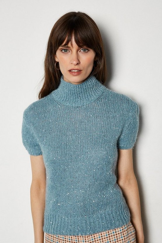 Blue Sequin Short Sleeve Jumper