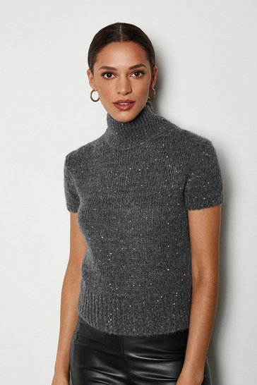 Grey Sequin Short Sleeve Jumper