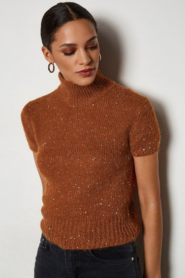 Rust Sequin Short Sleeve Jumper