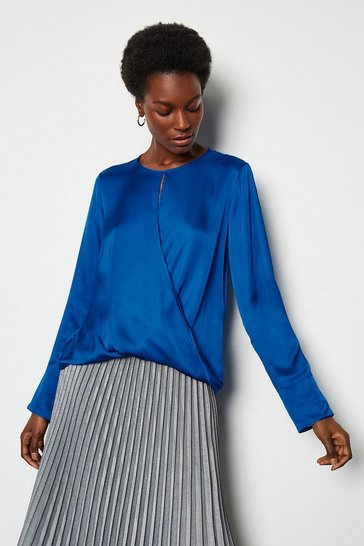Blue Wrap Front Blouse