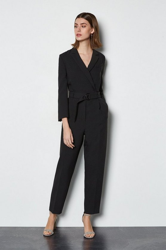 Black Clean Belted Jumpsuit