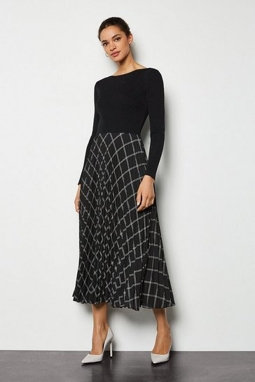 Black Knit Mix Window Pane Pleated Skirt Dress