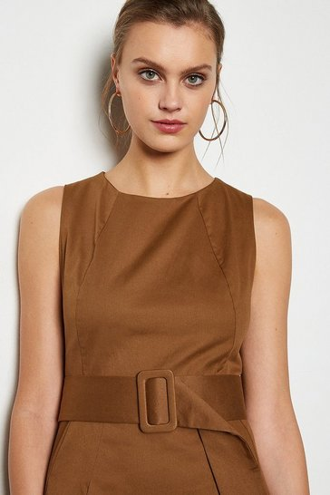 Camel Stretch Cotton Day Dress