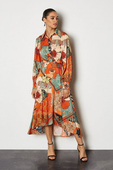 Multi 70's Floral Shirt Dress