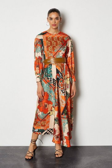 Multi 70's Floral Tiered Dress