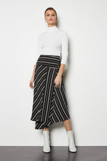 Blackwhite Wrap Front Striped Skirt