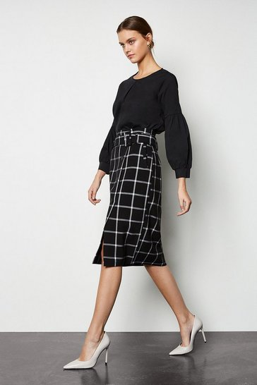 Blackwhite Relaxed Check Button Skirt