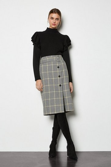Yellow Relaxed Check Button Skirt