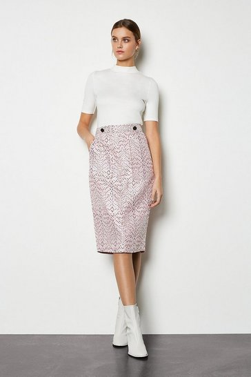 Womens Pink Pocket Detail Jacquard Skirt