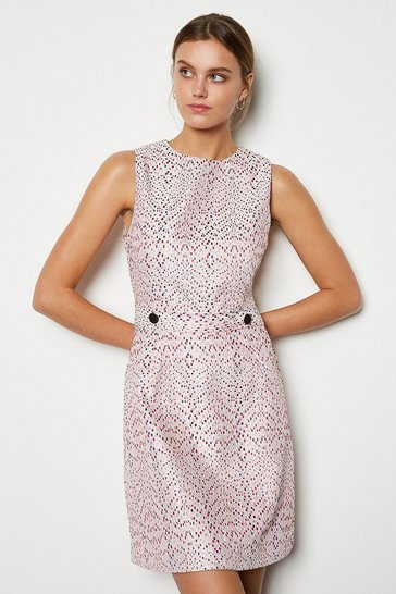 Womens Pink Jacquard Mini Dress