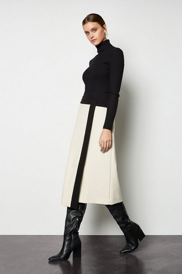 Womens Black Block Colour Wrap Skirt
