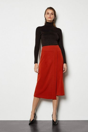 Womens Rust Block Colour Wrap Skirt