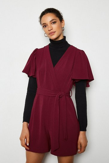 Wine Jacquard Playsuit