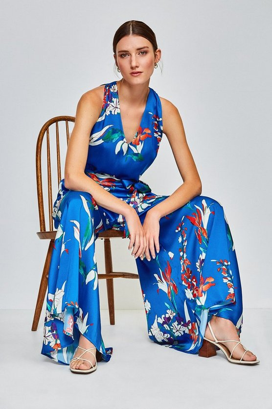 Blue Watercolour Printed Jumpsuit