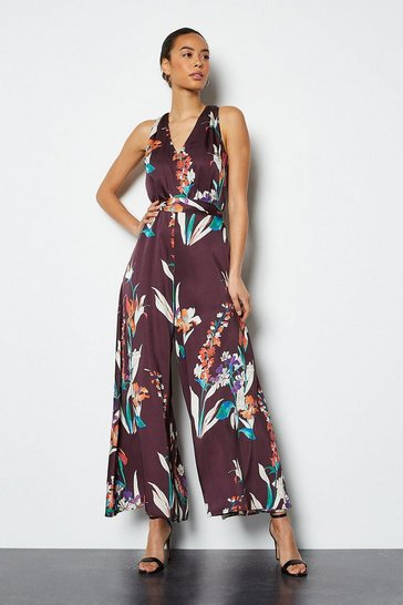 Plum Watercolour Printed Jumpsuit