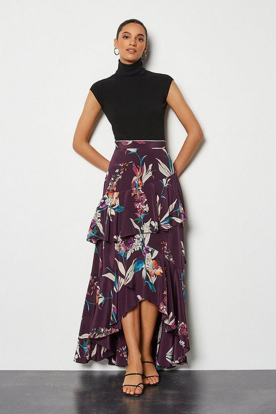 Plum Watercolour Floral Skirt