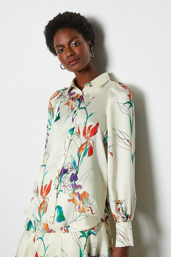 Ivory Watercolour Floral Shirt