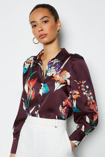 Plum Watercolour Floral Shirt