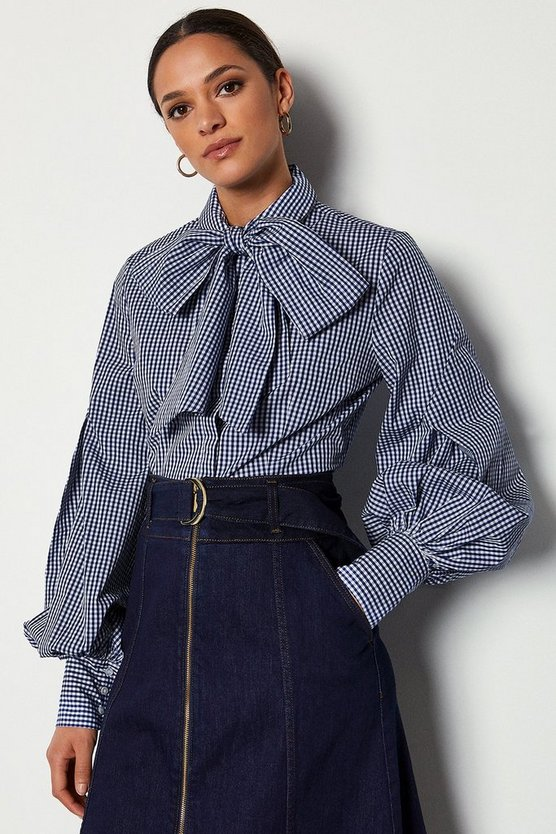 Navy Bow Front Blouse