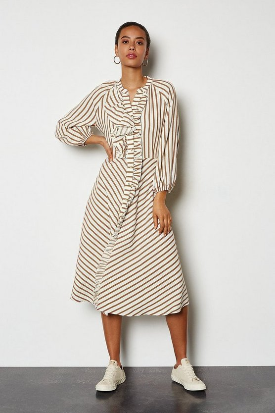 Tobacco Striped Ruffle Front Dress