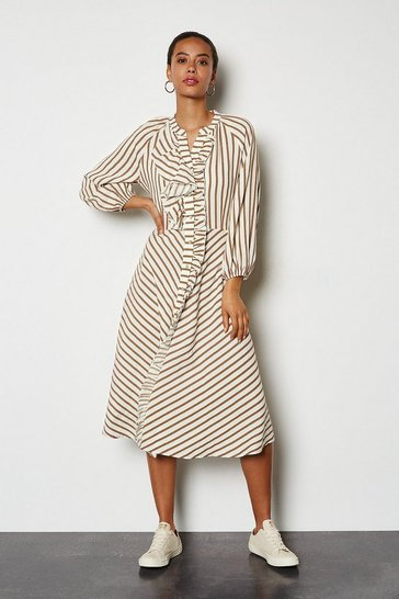 Tobacco Striped Ruffle Front Midi Dress