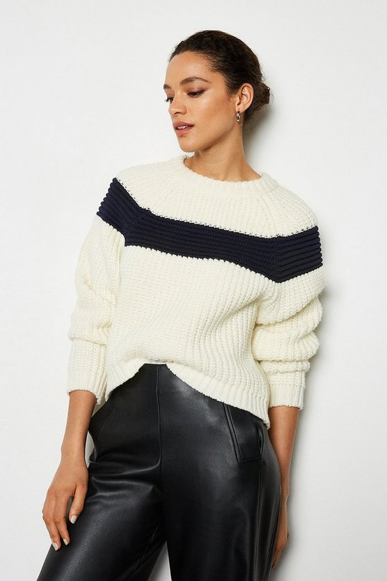 Navy Contrast Stripe Jumper