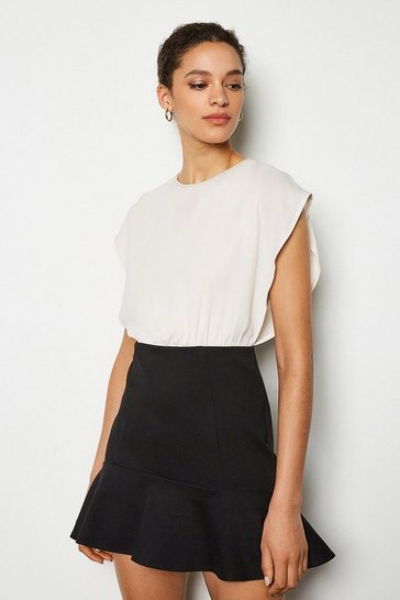 Blackwhite Tailored Flip Hem Stretch Dress
