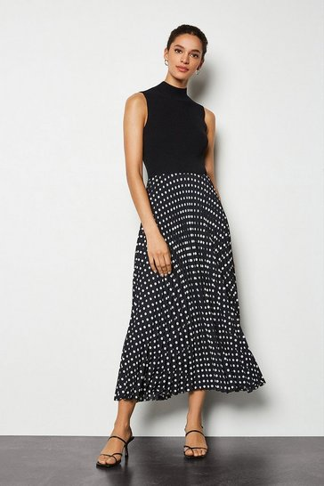 Black Knit Mix Pleated Spot Print Dress