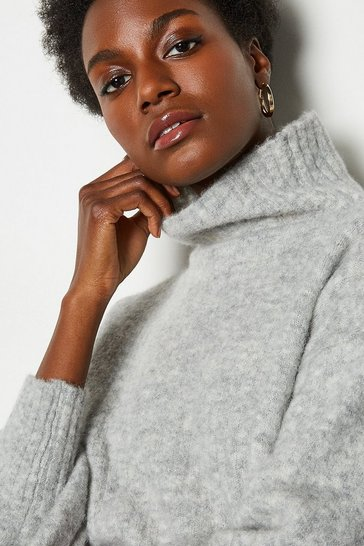 Grey Alpaca Blend Funnel Neck Jumper