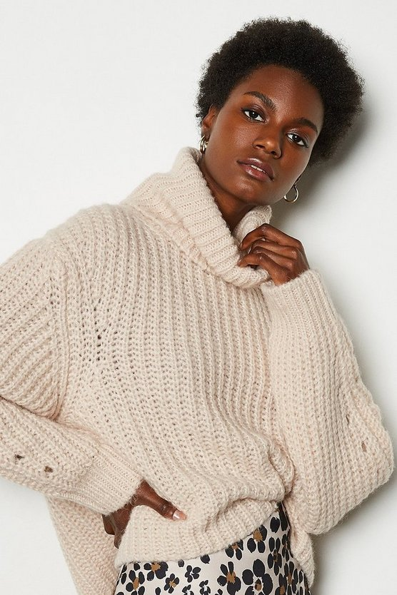 Blush Alpaca Blend Oversized Roll Neck Jumper