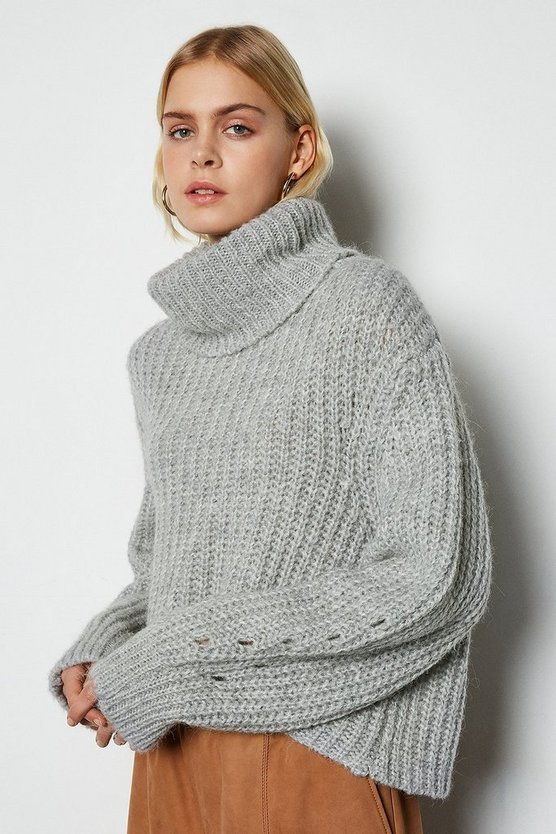 Grey Alpaca Blend Oversized Roll Neck Jumper