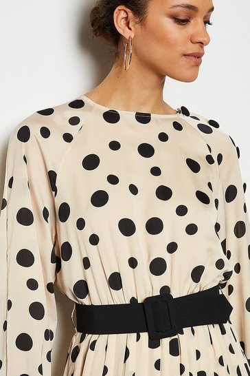 Multi Spot Print Pleated Button Midi Dress