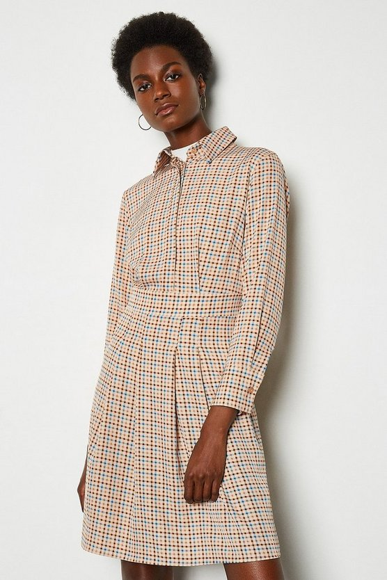 Multi Check Shirt Dress