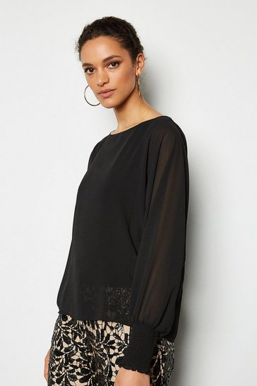 Black Double Layer Batwing Top