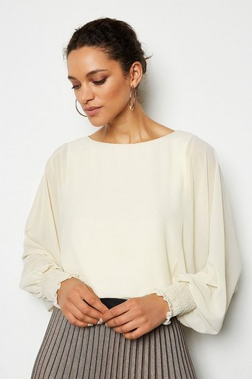Ivory Double Layer Batwing Top
