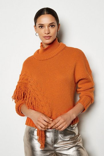 Orange Fringe Detail Asymmetric Jumper