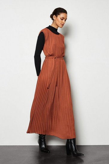 Rust Forever Pleat Belted Midi Dress