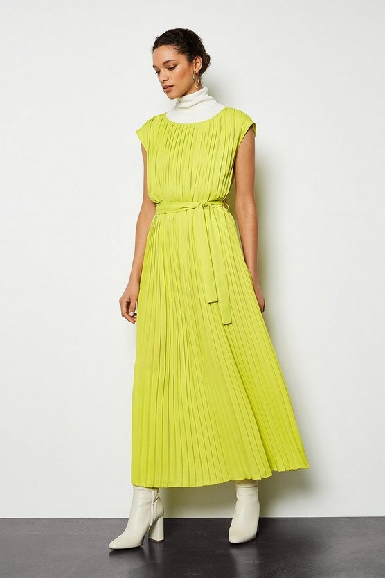 Yellow Forever Pleat Belted Midi Dress