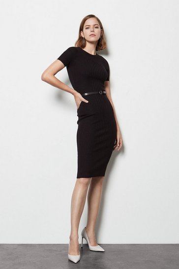 Womens Black Skinny Rib Belted Knit Dress